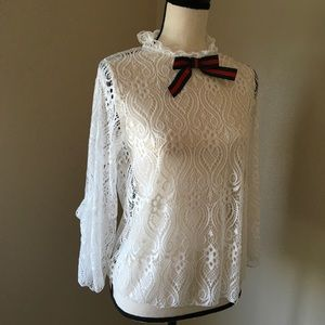 Tops - New White Lace Open Back Blouse